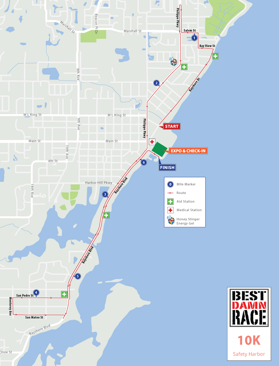 Safety Harbor, FL - Best Damn Race - 10K Map 2017