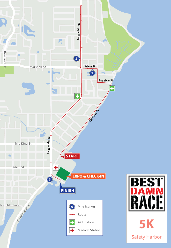 Safety Harbor, FL - Best Damn Race - 5K Map 2018