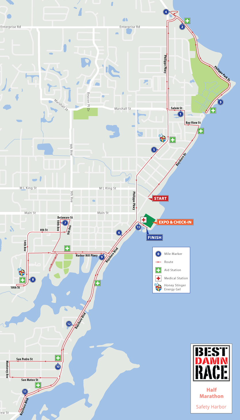 Safety Harbor, FL - Best Damn Race - Half Marathon Map 2017