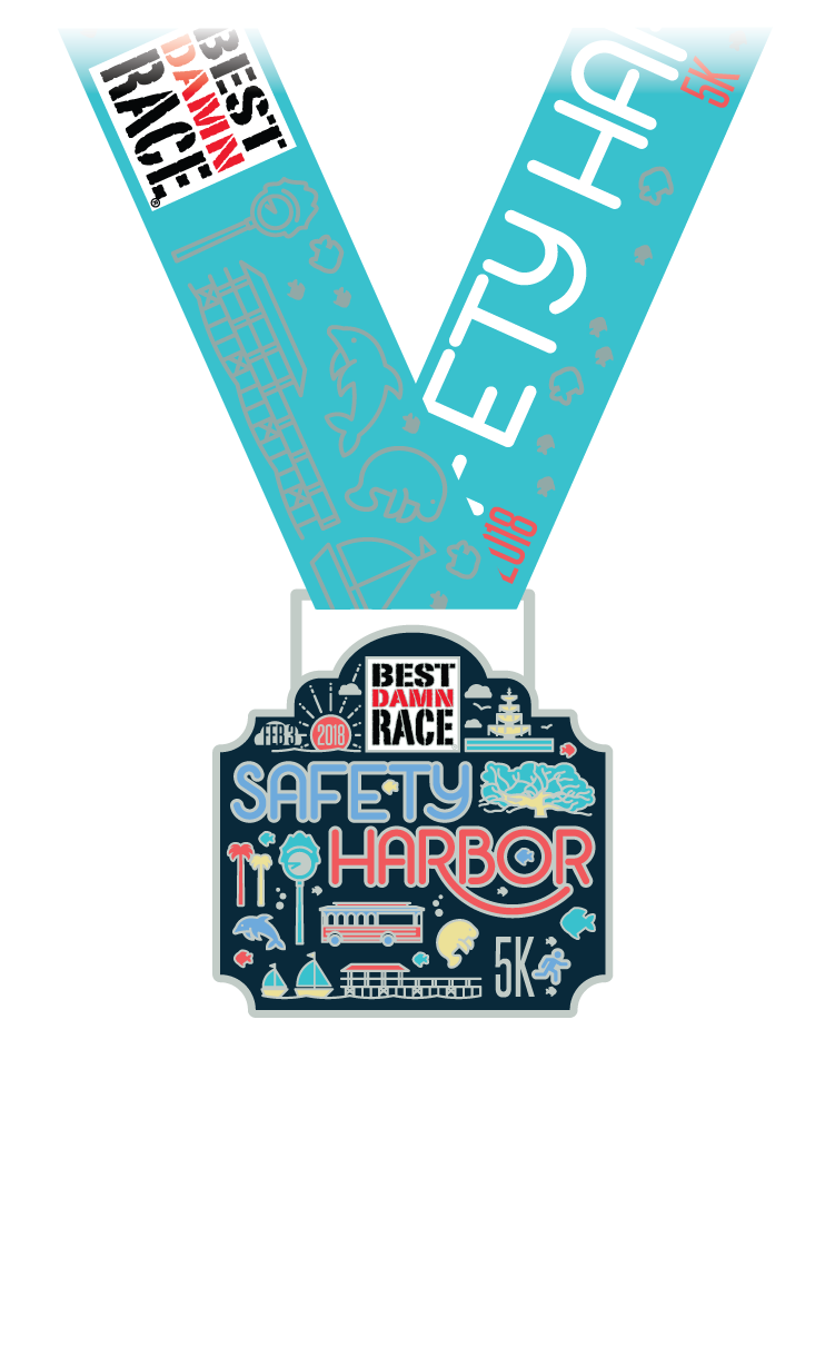 2018 5K Medal - Safety Harbor, FL - Best Damn Race