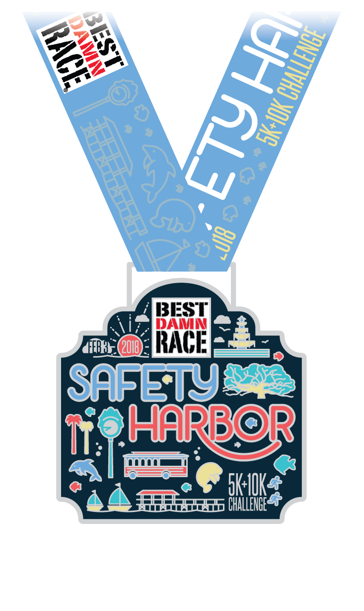 2018 10K + 5K Challenge Medal - Safety Harbor, FL - Best Damn Race