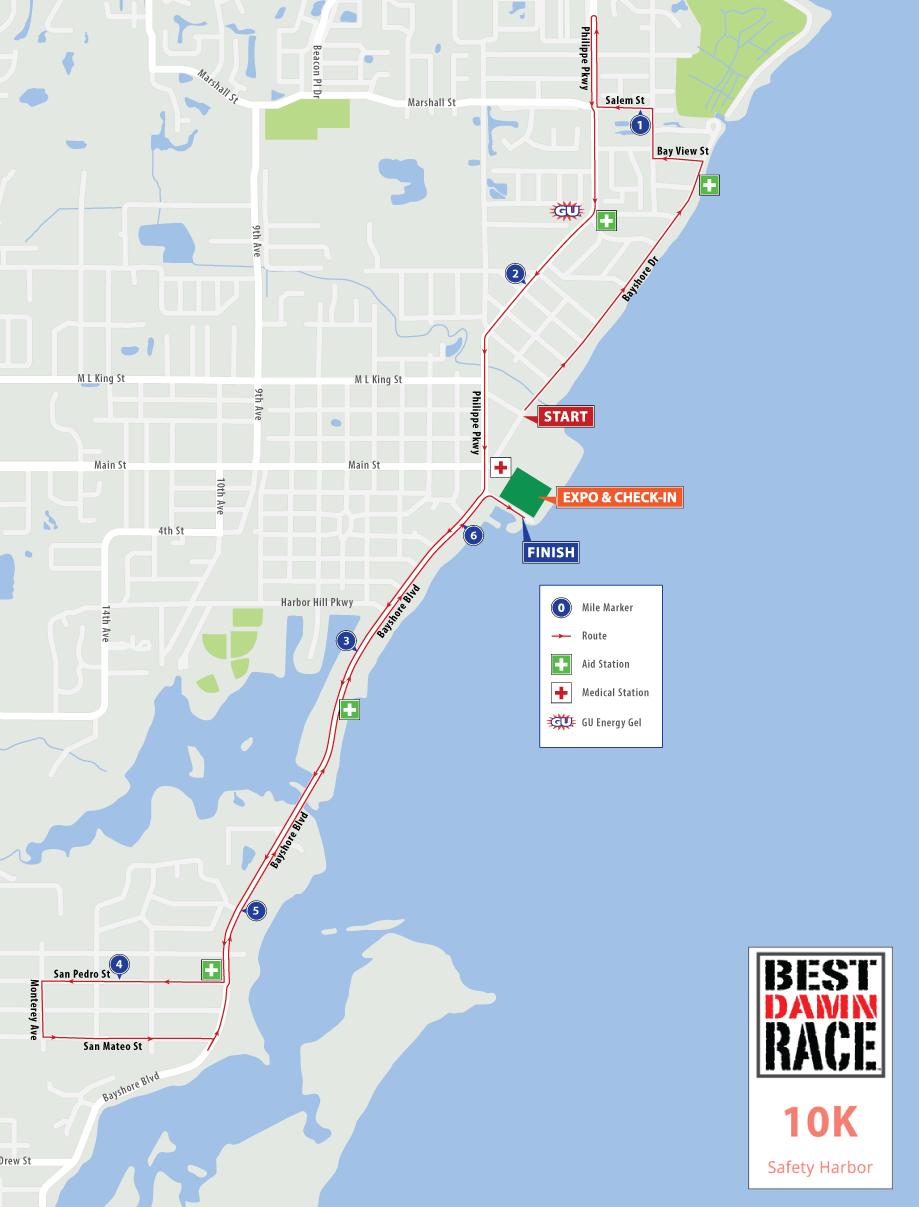 Safety Harbor, FL - Best Damn Race - 10K Map 2018