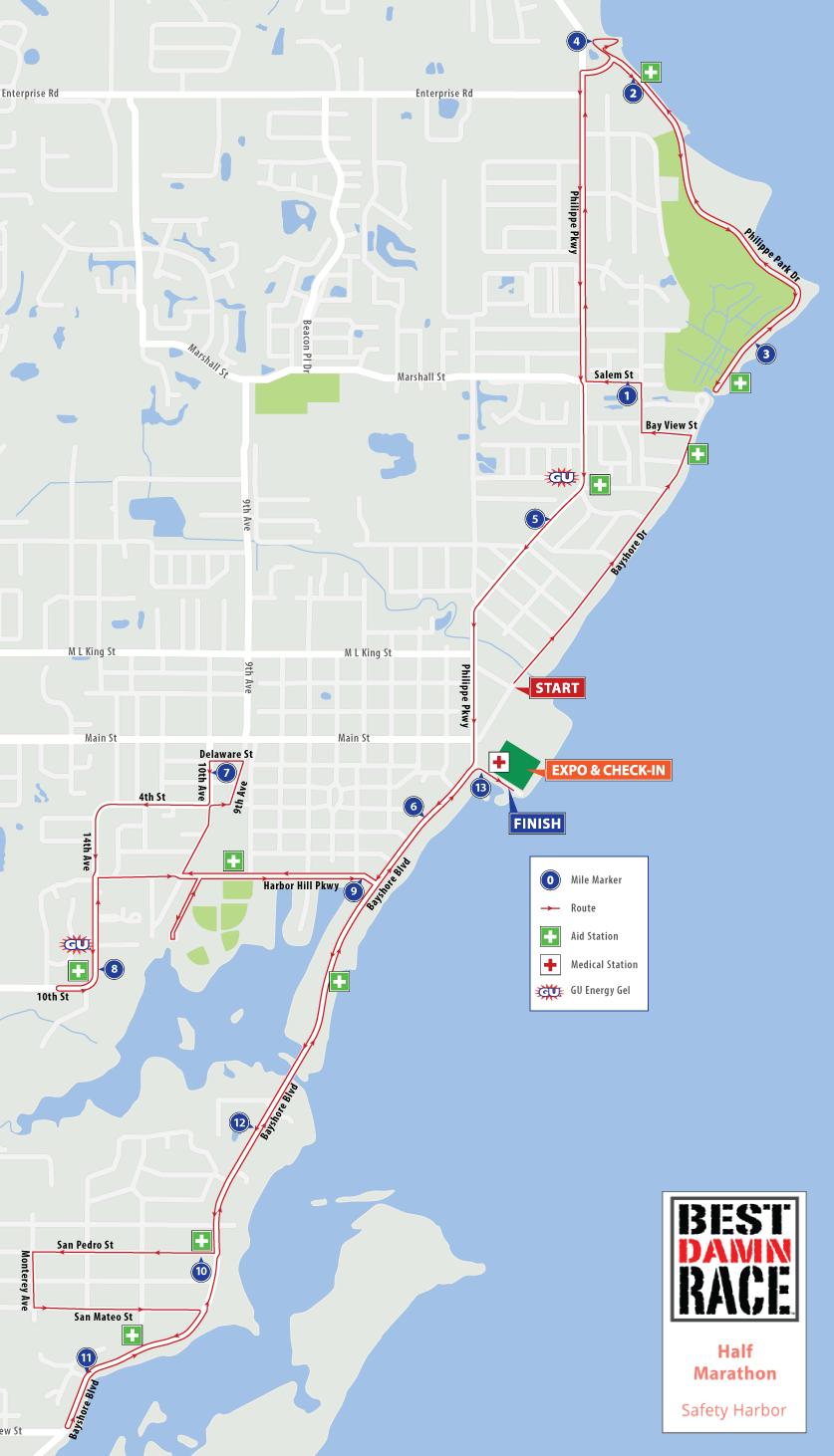 Safety Harbor, FL - Best Damn Race - Half Marathon Map 2018