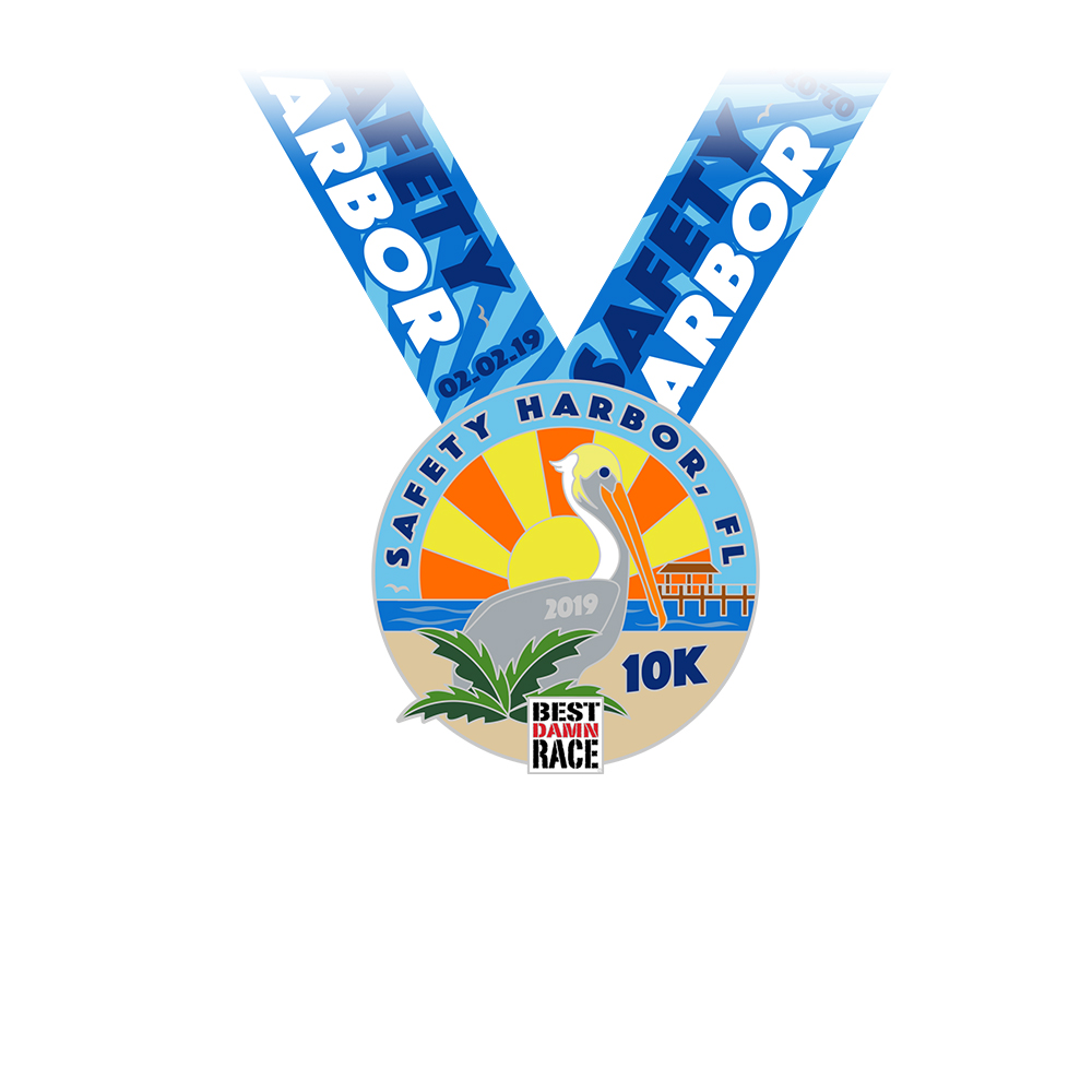 2018 10K Medal - Safety Harbor, FL - Best Damn Race