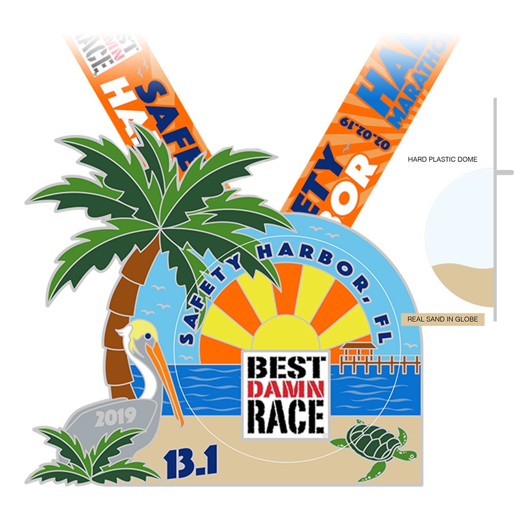 2018 Half Marathon Medal - Safety Harbor, FL - Best Damn Race