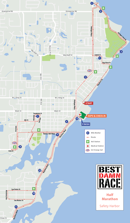 Safety Harbor, FL - Best Damn Race - Half Marathon Map 2019