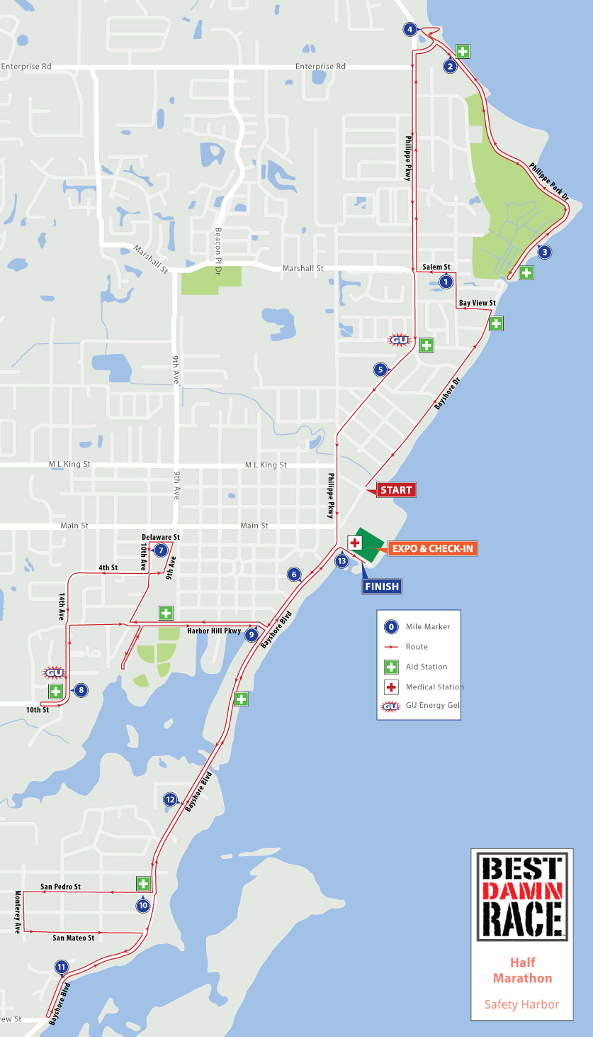 Safety Harbor Florida Map.Course Maps Best Damn Race Safety Harbor Fl