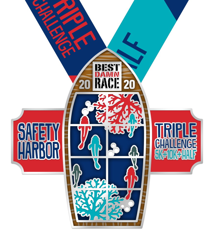 2020 Half Triple Challenge Medal - Safety Harbor, FL - Best Damn Race